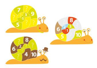 Smiling snails for kids / vectors illustration