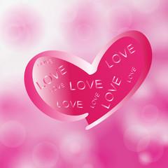 Love in pink heart on  bokeh background