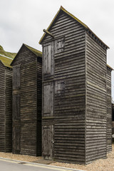 wooden black net huts, Hastings