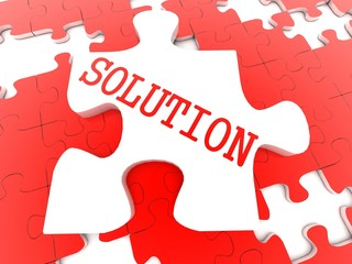 3D-puzzle with the word SOLUTIONS