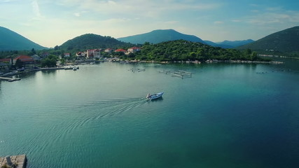 Mali Ston on Peljesac peninsula, aerial