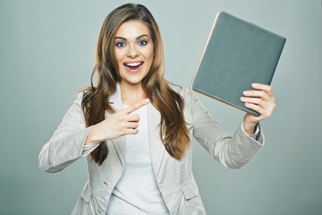 business woman hold book isolated studio
