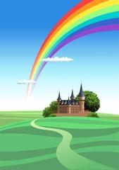 虹と城のイラスト
