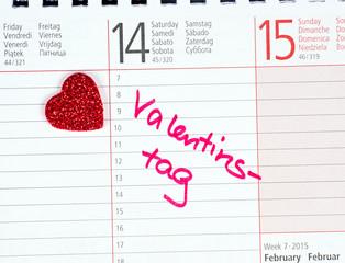 Herz mit Kalendereintag Valentinstag