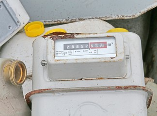 obsolete disused gas counters in a landfill of toxic waste speci
