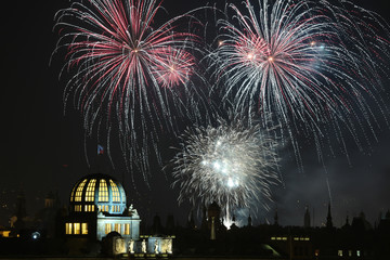 New Year fireworks over Prague, Czech Republic.