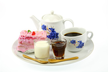 Cup of coffee and strawberry cake