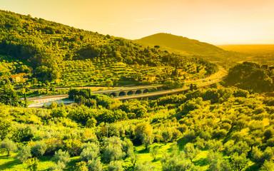 Tuscany panoramic landscape.Tuscany motorway, Italy.