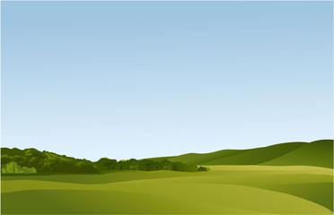 Rural landscape with green hills