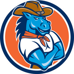 Cowboy Horse Arms Crossed Circle Cartoon