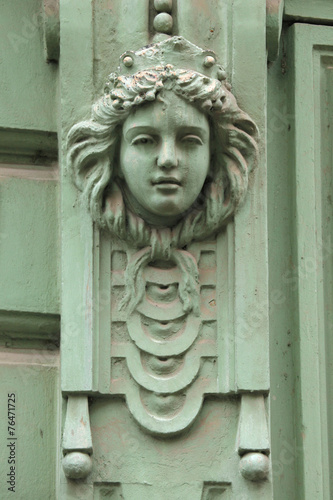 Fotobehang Praag Mascaron on the Art Nouveau building in Prague.