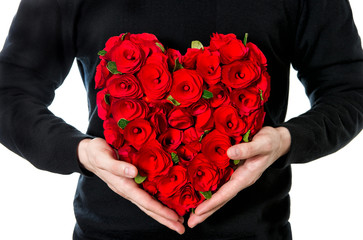 red roses. bouquet of flowers in heart shape
