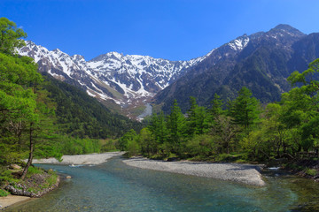 Hotaka mountains and Azusa river in Kamikochi, Nagano, Japan