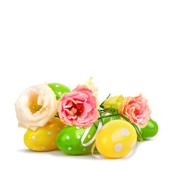 Easter eggs and fun bouquet of flowers isolated on white backgro