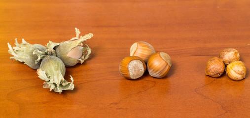 Hazel nuts on a table