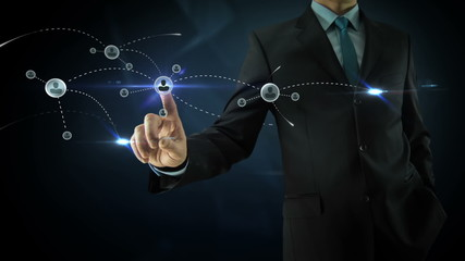 Businessman pointing on social network media concept