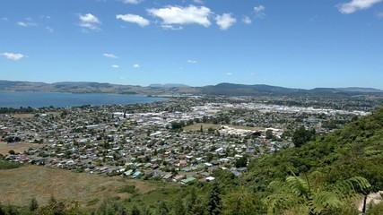 Aerial view of Rotorua city New Zealand