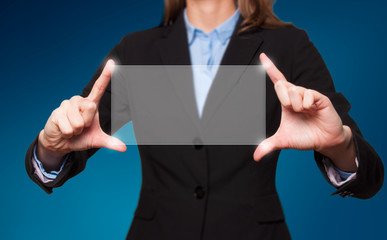 Touch screen concept - businesswoman - Stock Image