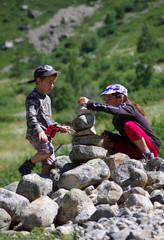 randonnée en montagne - cairn