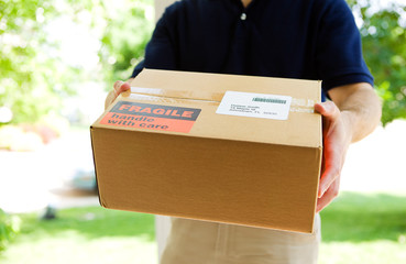 Delivery: Man Holding a Shipment