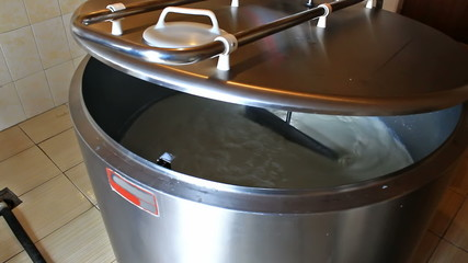 Milk cooling tank in a dairy