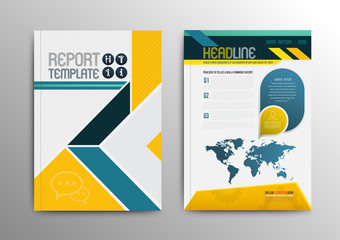 Vector brochure template design with world map.