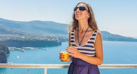 Beautiful Young Woman Enjoying Tropical View Sea Travel Holiday