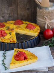 baked polenta with tomatoes, cheese and thyme