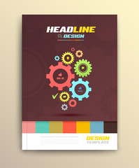 Brochure cover design with cog wheels Templates.