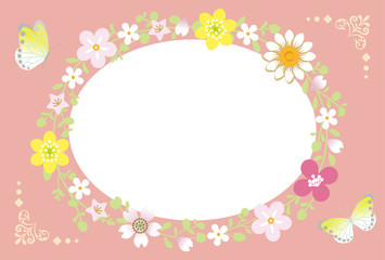 Spring Flower Wreath-Ellipse pink