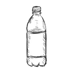 Vector Single Sketch Plastic Bottle of Water