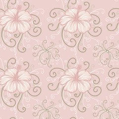 seamless background with pink hibiscus.