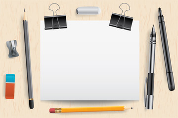 School supplies and empty paper card, vector