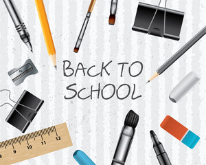 Back to school on paper with supplies, vector