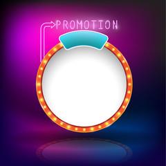Retro vintage circle frame promotion neon