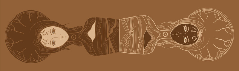 Vector illustration of twins, Yin and yang, dualism