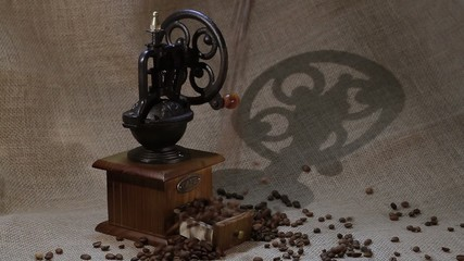 coffee beans  falling down in box of coffee grinder