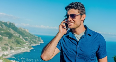 Handsome Young Businessman Talking On Cellphone Smartphone 3G 4G