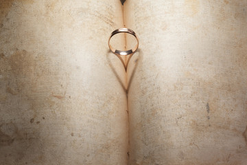 Wedding Ring and heart shaped shadow
