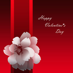 Red card for Valentine's Day with flower motif