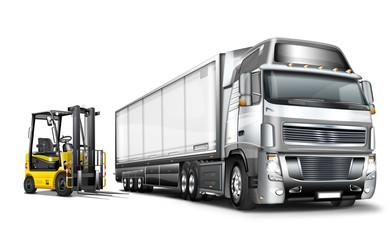 Gabelstpler mit Truck und Auflieger, Hänger, freigestellt