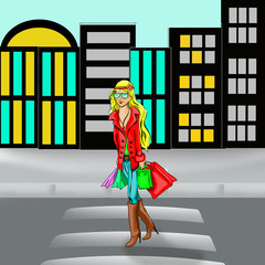 painted girl goes shopping