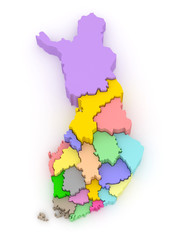 Three-dimensional map of Finland.