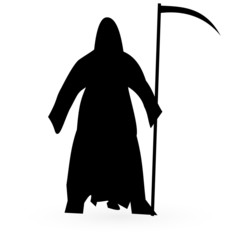Black silhouette of death with a scythe. Vector.