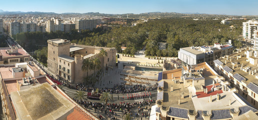 Panoramic view of Elche during Easter Time. Alicante. Spain