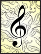 Abstract musical decor with treble clef