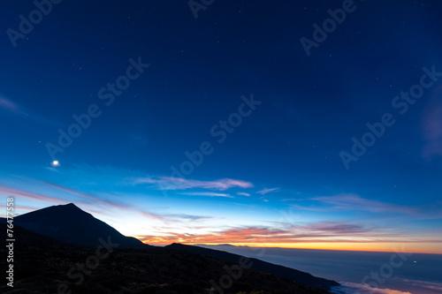 canvas print picture Sonnenuntergang im Teide Nationalpark auf Teneriffa