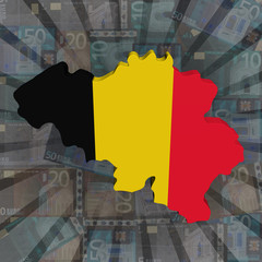 Belgium map flag on euros sunburst illustration