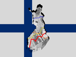Finland map with flag and graphs on Euros illustration
