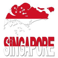 Singapore map flag and text illustration